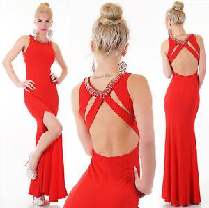 d68c21e19151 Caricamento dell immagine in corso Vestito-abito-lungo-donna -rosso-sirena-strass-elegante-