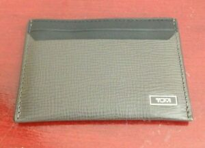 TUMI-MONACO-BLACK-TAUPE-LEATHER-UNISEX-CARD-ID-HOLDER-MINT-CONDITION