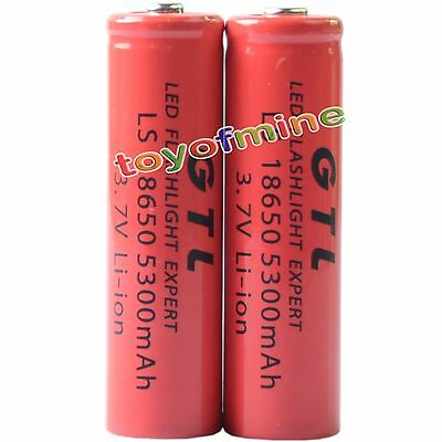 2x 3.7V 18650 GTL Li-ion 5300mAh Red Rechargeable Battery for LED Torch