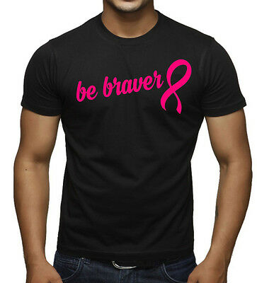 Men/'s Be Braver Black T Shirt Breast Cancer Support Believe Faith Hope Tee V388