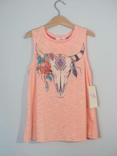 GB Girls sleeveless summer top fashion longhorn skull cowgirl S XL Ages 7-16 L