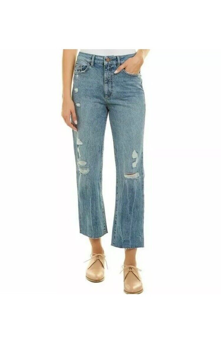 DL1961 Jerry El Paso Mom Jeans Stone Washed Distressed High Rise 26 Pure Cotton