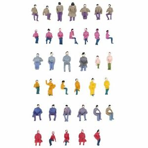 50-x-Figurines-Passagers-Assis-Peints-Miniature-Decor-pour-Train-Echelle-1-87-WT
