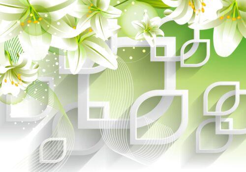 Fototapete Blumen 3D blätter Grün