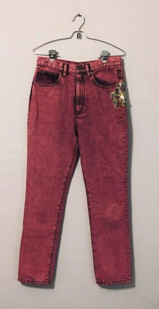 Marc Jacobs Stovepipe Cigarette smoking Embellished Lips patch pink wash size 27