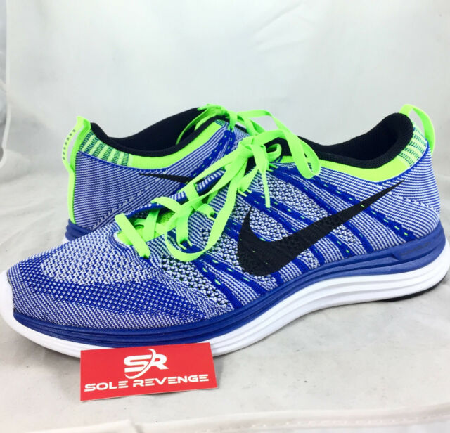 new product df1d0 c429f New 9.5 Men Nike Flyknit Lunar One+ 1 Running Shoes Game Royal Blue Black  White