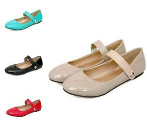 Womens-Patent-Leather-Strap-Mary-Jane-Flats-Ballet-Dance-Casual-Shoes-Plus-US-Sz