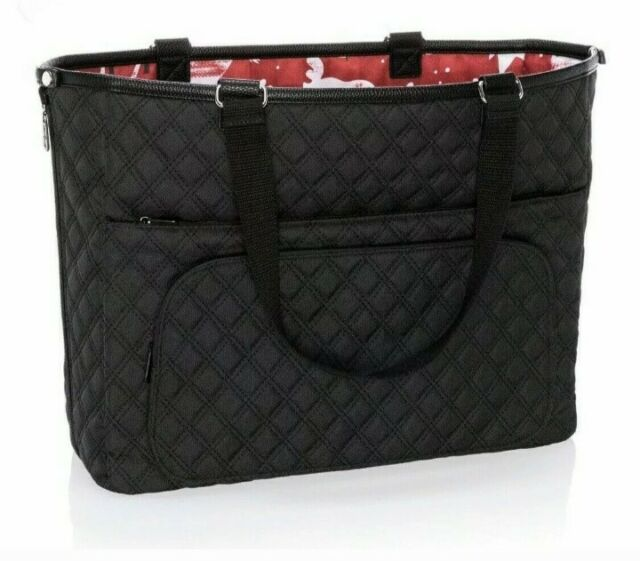8949 Thirty One Double Take Tote in Grey Quilted Diamonds and Reversible to Woodblock Whimsy Pattern No Monogram
