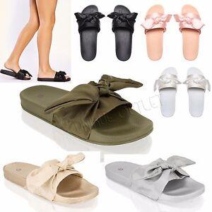 pretty nice 8f5d6 659ff Details zu Damen Schieber Schleife Sommer Zehentrenner Hausschuhe  Pantoffeln Schuh Größe