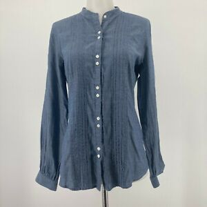 Club Monaco Top Blue Chambray Button Up Long Sleeve Pintuck Pleated Size Small