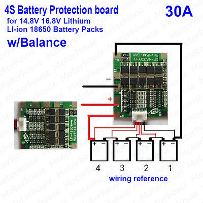 4S 30A Li-ion Lithium 18650 Battery BMS  Protection Board 16.8V charge balance