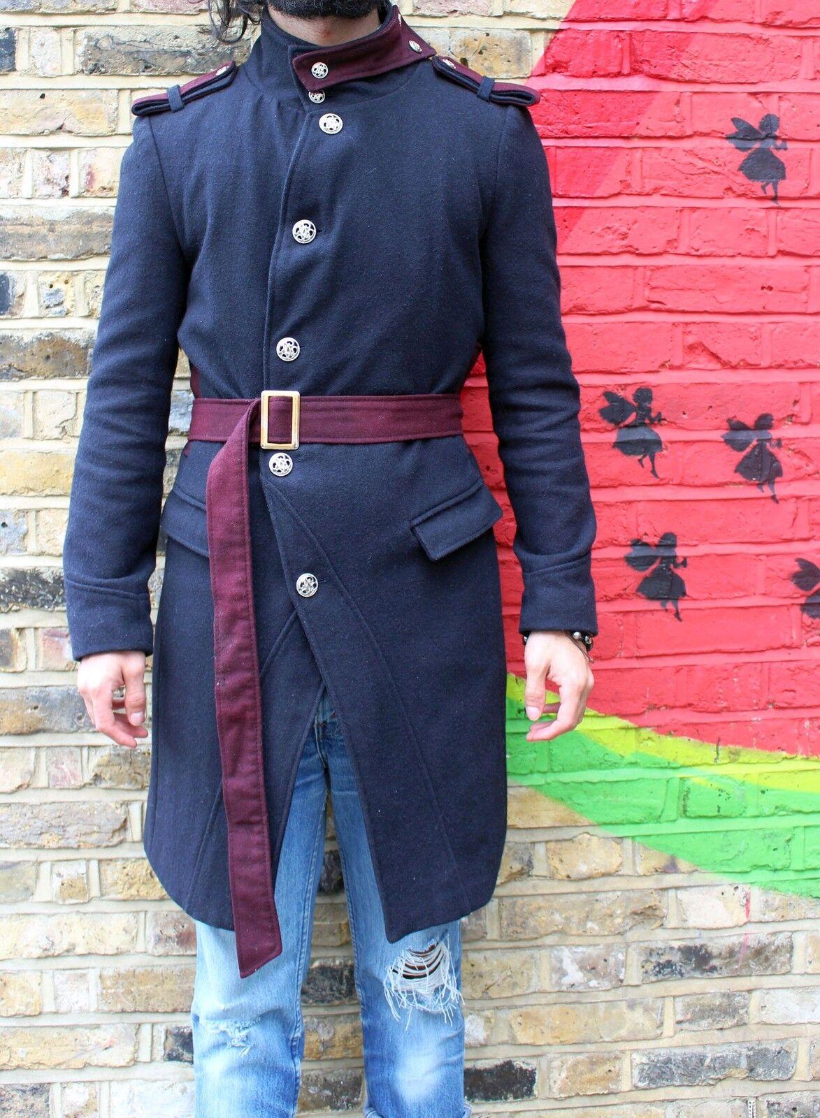 Herren ASYMMETRIC COAT Small wool all navy, longline military S M 36 saints belted