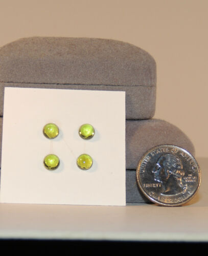 Peridot Cabochons 6mm with 3-4mm dome Set of 4 3807