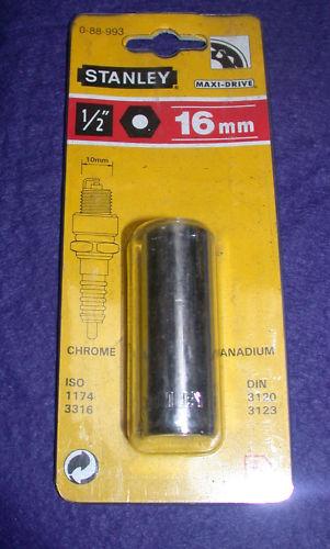 """Stanley 0-88-993 1//2/"""" Drive 16mm Spark Plug Socket"""