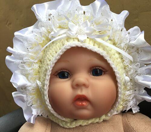 Handmade baby girls bonnet ribbon trim 0-18mths Spanish style