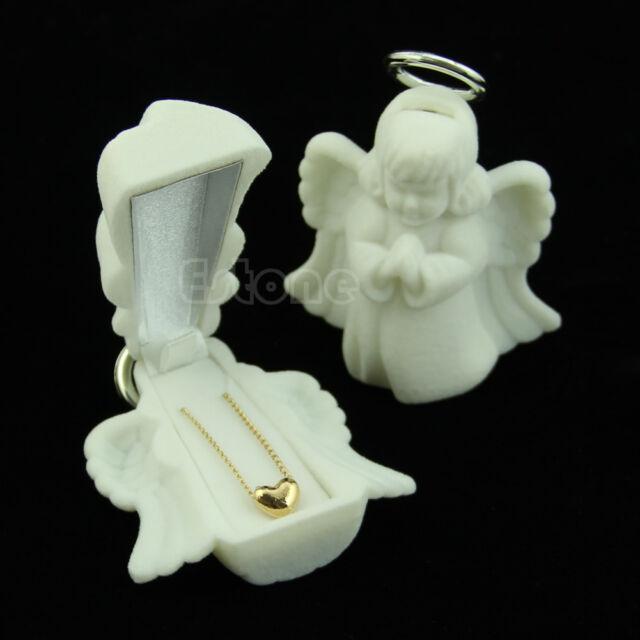 Luxury Velvet Angle Ring Necklace Display Jewelry Storage Gift Box Trinkets Case