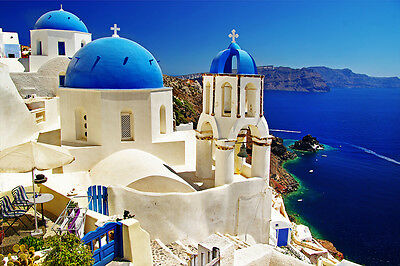 Postereck - 0084 - Santorin, Griechenland - Poster Urlaub Kirche Meer Bild