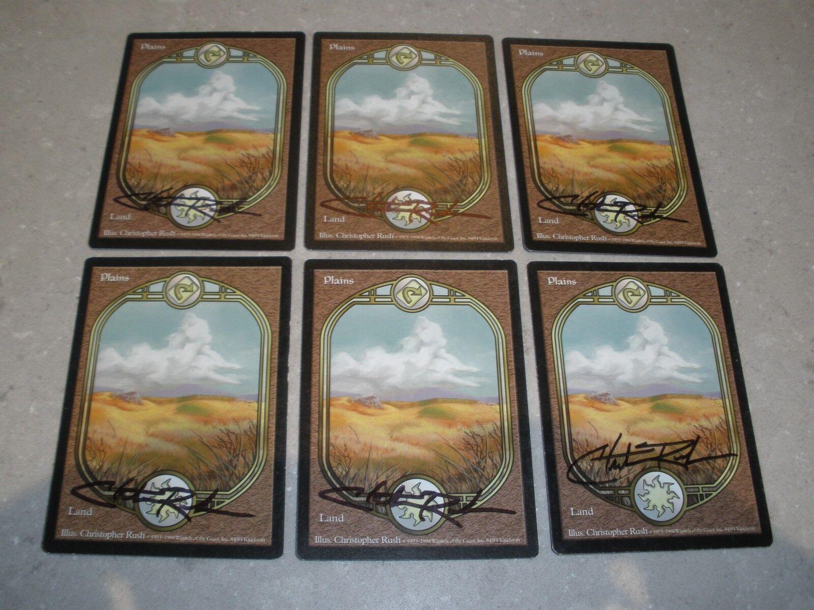 MTG Magic Artist (Christopher Rush) Signed Plains x6 Unglued LP NM
