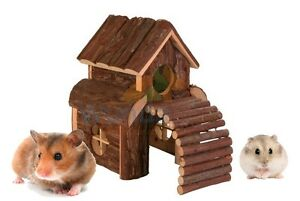 TRIXIE-SMALL-ANIMAL-HAMSTER-GERBIL-CAGE-WOODEN-HOUSE-2-STOREY-WITH-RAMP-62037