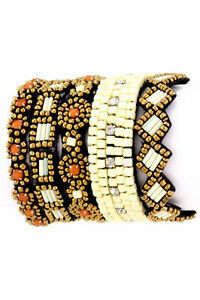 TRIBAL-AZTEC-5-LAYERS-WHITE-BRASS-CORAL-CUFF-BRACELET-SEED-BEAD-HAND-SEWN
