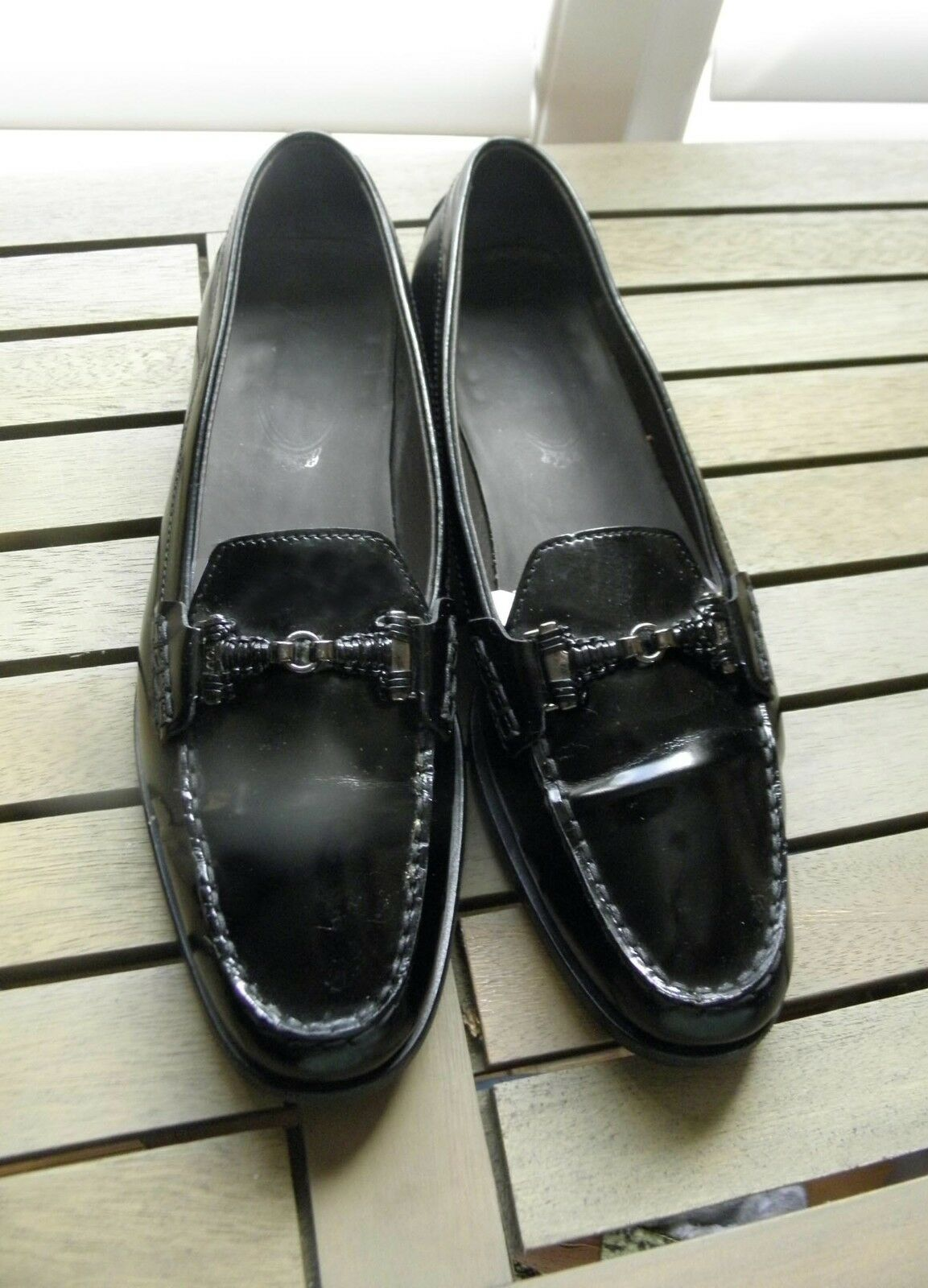 TOD'S  WOMEN'S  SHINNY SHINNY SHINNY BLACK LOAFERS 40.5, 9.5, but will fit 10, 41 766d38