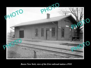 OLD-LARGE-HISTORIC-PHOTO-OF-BURNS-NEW-YORK-ERIE-RAILROAD-STATION-c1910-1