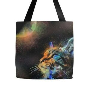 Details About Tote Bag All Over Print Cat 624 Moon Space Galaxy Digital Art L Dumas