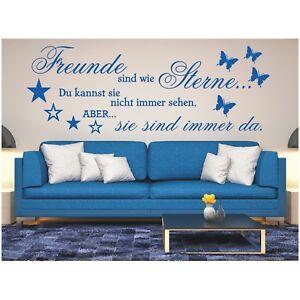 Wandtattoo-Spruch-Freunde-Sterne-immer-da-Wandsticker-Wandaufkleber-Sticker
