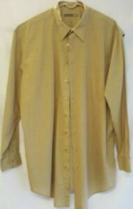 Comfort-Zone-Men-039-s-2XLT-TALL-Button-Up-Long-Sleeve-Shirt-Beige-Tan-Cotton-Blend