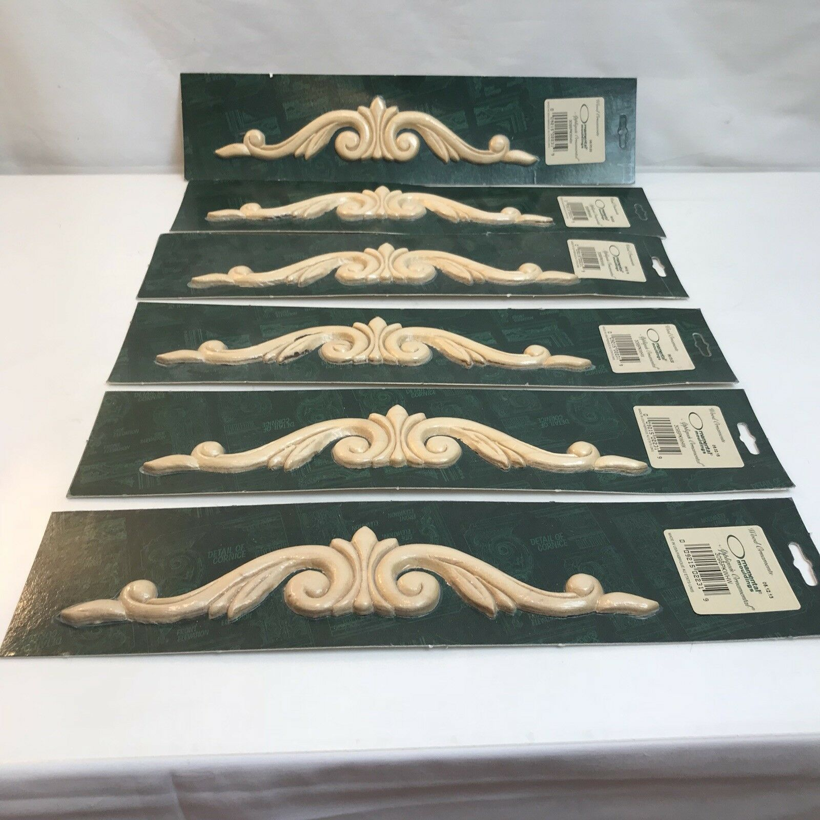 Ornamental Moulding Appliques 12x2 Wood Unfinished Lot Bundle 6 New (D)