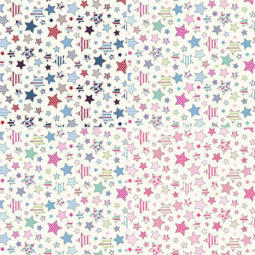 Twinkle Stars 100/% Cotton Fabric Lifestyle Vintage Starry Children 140cm Wide