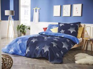 2 tlg bettw sche 155x220 cm biber sterne blau wei wende motiv neu 211 ebay. Black Bedroom Furniture Sets. Home Design Ideas