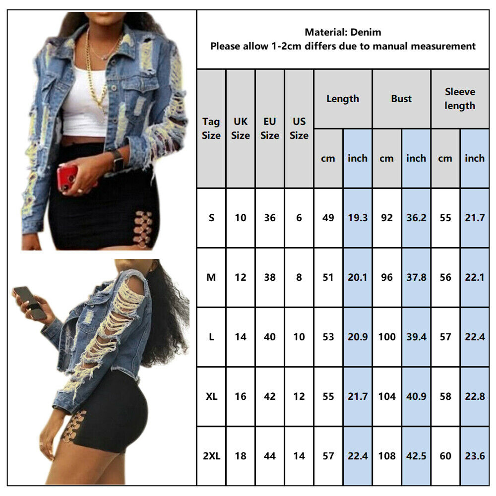 UK Womens Distressed Ripped Denim Jacket Jeans Coat Party Club Long Sleeve Tops