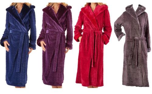 Dressing Gown Ladies Bathrobe Faux Fur Shawl Collar Hooded Wrap Robe Slenderella