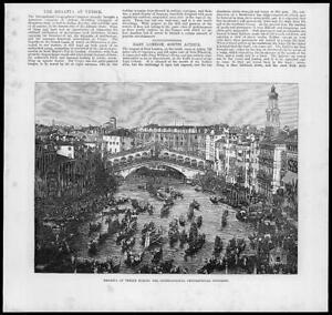 1881-Antique-Print-ITALY-VENICE-Regatta-Geographical-Congress-Gondola-18