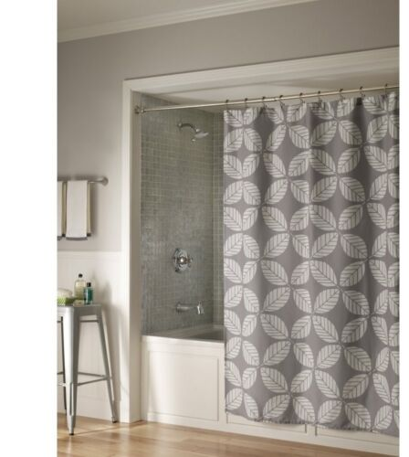 leaf  fabric Shower Curtain color gray