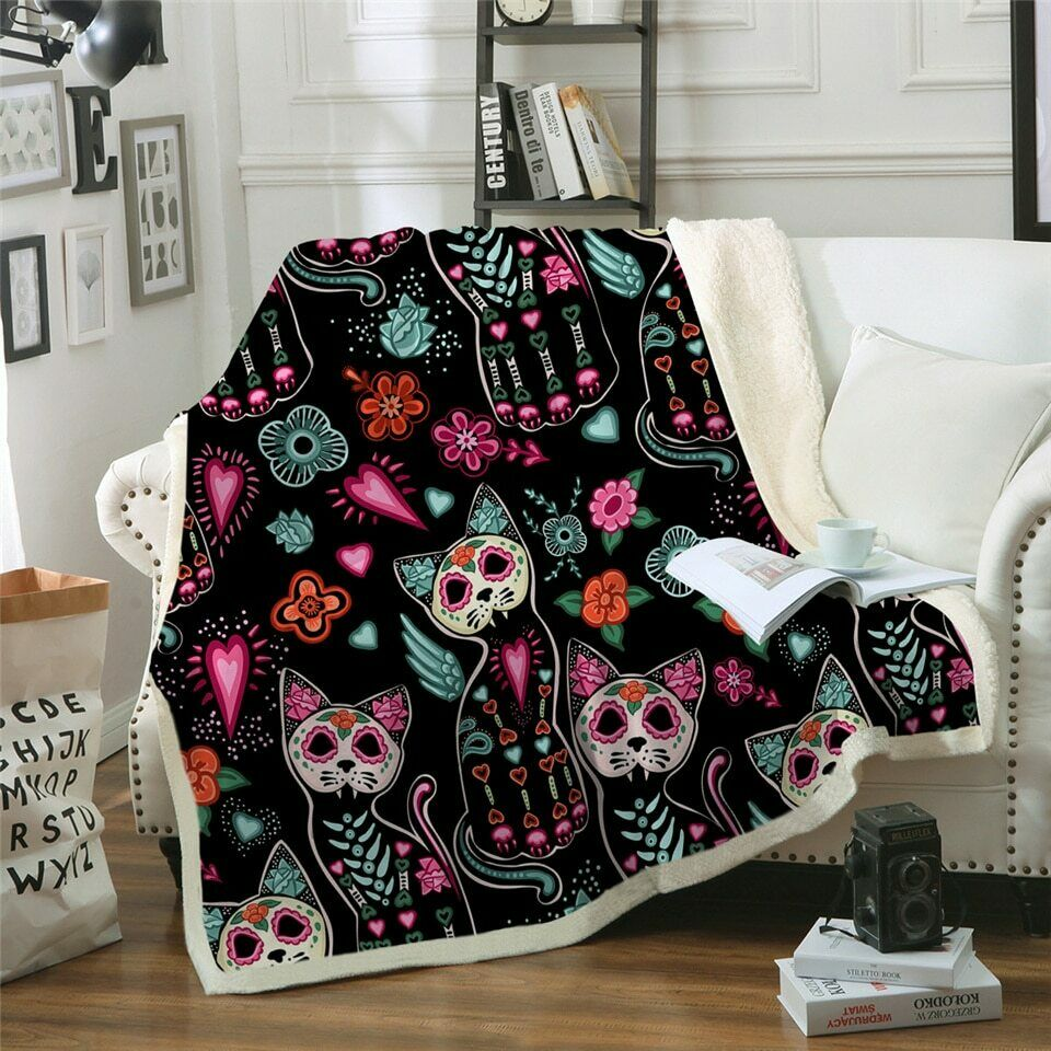 Cat Animal Pet Mask Floral Sherpa Plush Throw Blanket Fleece Bed Sofa Couch