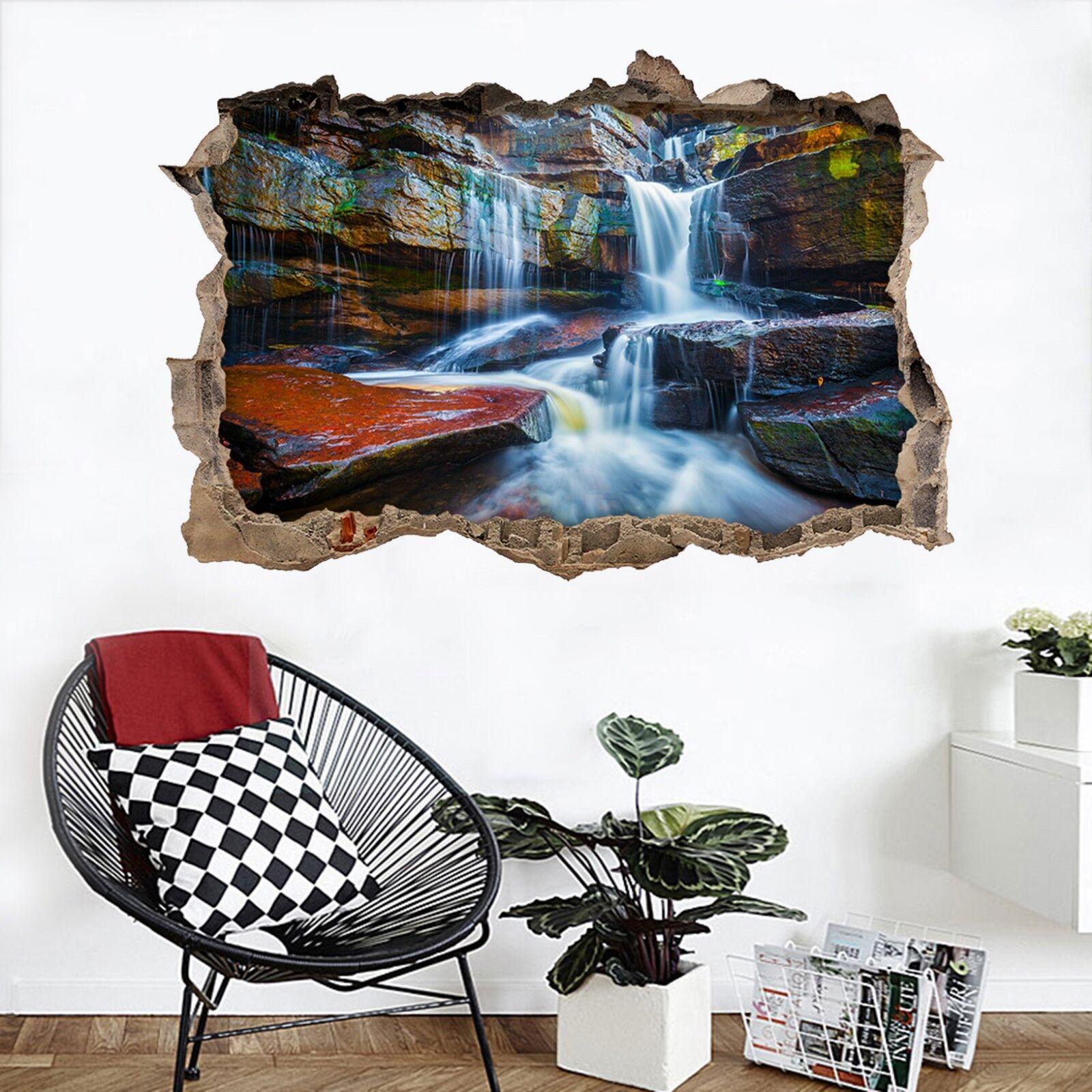 3D Cascata Di Rocce 135 Parete Murales Adesivi Decal Sfondamento AJ WALLPAPER IT