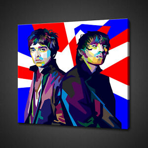 OASIS NOEL LIAM GALLAGHER POP ART CANVAS PRINT PICTURE WALL HANGING HOME DECOR