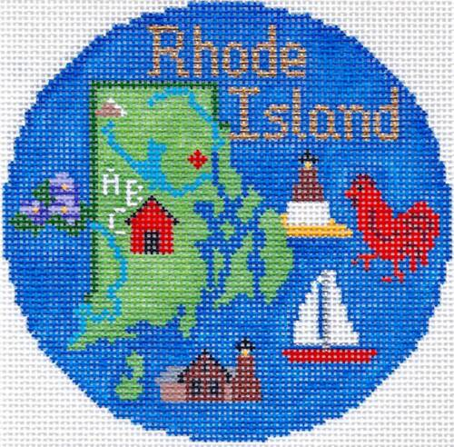 RHODE ISLAND  handpainted 4.25 Rd. Needlepoint Canvas Ornament by Silver Needle
