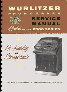 Manuale Completo (manual) Jukebox Wurlitzer 2500-2504-2510 (juke Box) (1961) Grand Assortiment