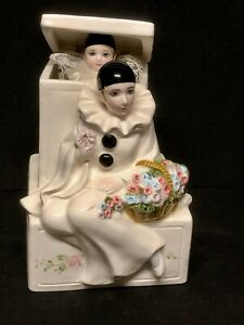 "1981 SCHMID #402 Music Box, Pierrot Love Harlequin Jack in Box plays ""Memories"""