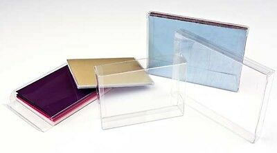 5 Flat Crystal Clear Boxes 4 1/2 x 5/8 x 5 7/8 Boxes for Cards, Small Linens Etc