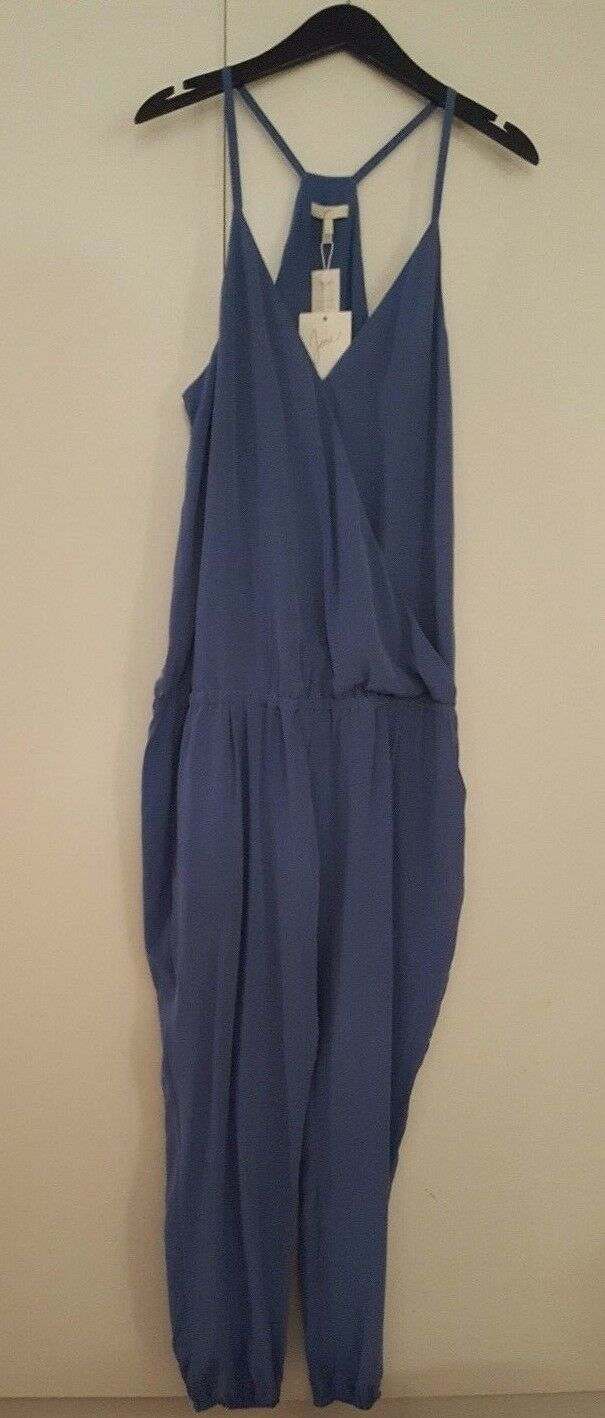 NWT JOIE WOMEN'S CROSS OVER SILK ROMPER JUMPER DESERT SKY blueE LARGE