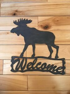 Details About Metal Cutout Moose Décor Welcome Sign Home Cabin Office Or Entryway New