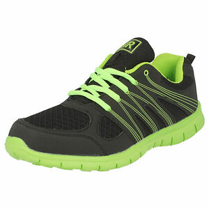 b84054914515 MENS AIR TECH BLACK NEON GREEN TRENDY LACE UP CASUAL TRAINERS SPRINT ...
