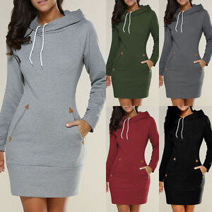 Womens-Hooded-Jumper-Mini-Dress-Casual-Sweatshirt-Sweater-Pullover-Hoodie-Tops-D