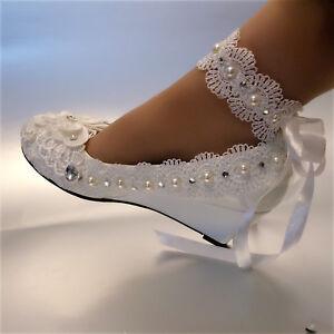 su.cheny White ivory wedge pearls lace ribbon anklet Wedding Bridal ... 0dfb9eca3