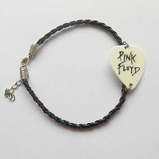 "PINK FLOYD guitar pick plectrum LEATHER braided twist rock BRACELET 7.5"""