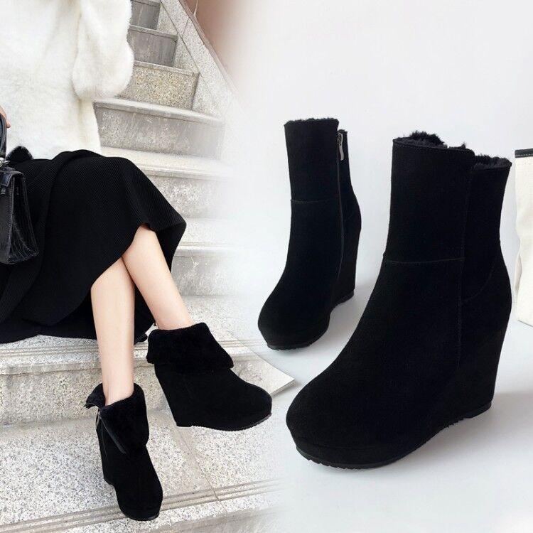 Para Para Para mujer botas al Tobillo Plataforma De Cuña Zapatos De Tacones Altos Gamuza Invierno Casual Cremallera Lateral  distribución global